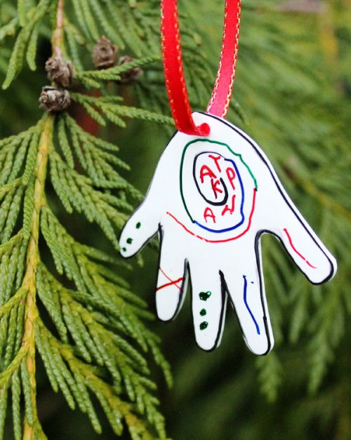 kid artwork ornament (via blog)