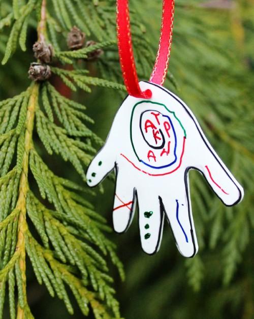 kid artwork ornament (via blog)