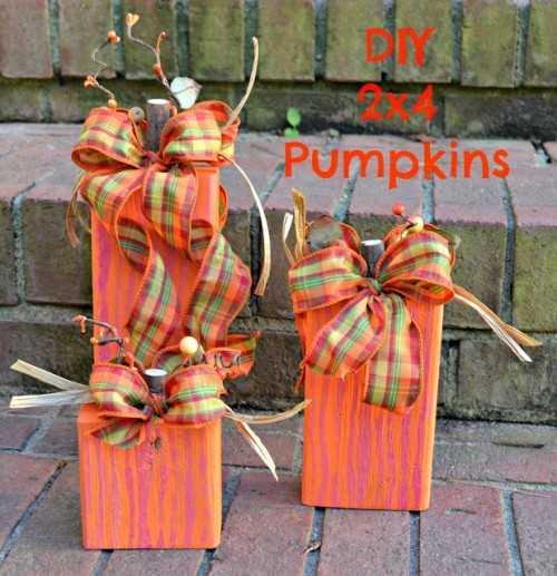 Easy 2×4 Pumpkins For Fall And Thanksgiving Decor
