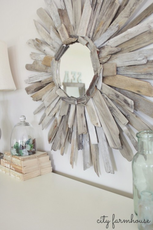 sunburst driftwood mirror (via cityfarmhouse)