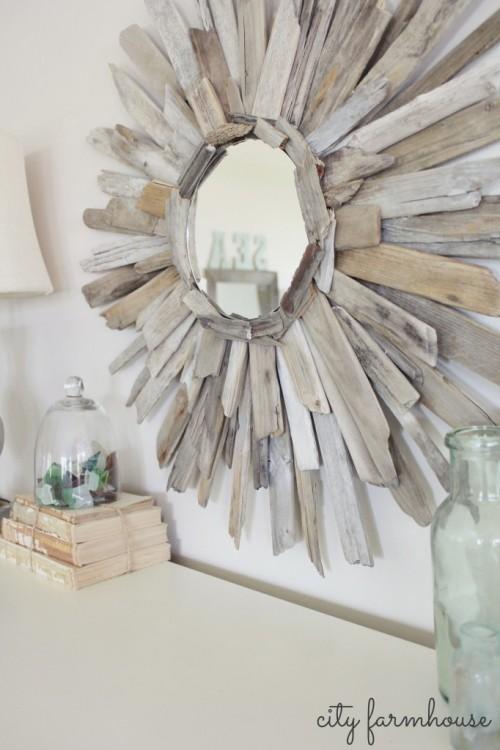 sunburst driftwood mirror (via cityfarmhouse)