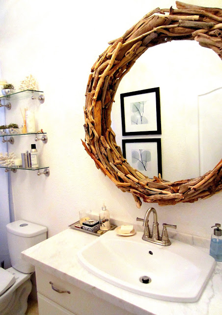 driftwood bathroom mirror
