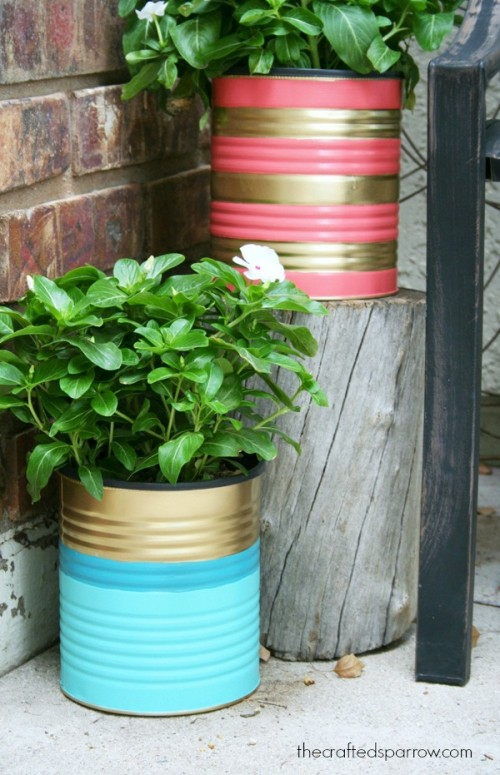 Easy And Budget Savvy DIY Painted Tin Can Planters