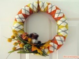 yarn wreath with faux veggies