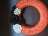orange yarn wreath
