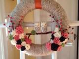 owl yarn wreath