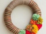yarn and pompom wreath