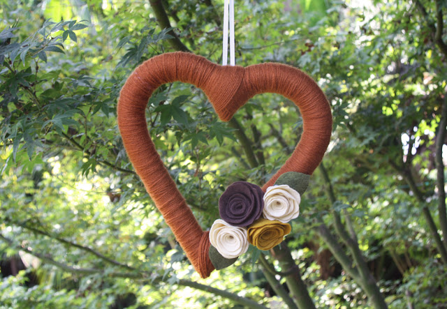heart shaped yarn wreath