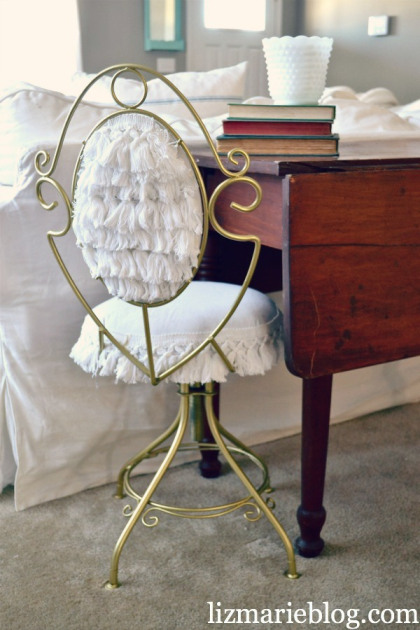 thrifted vanity chair makeover (via lizmarieblog)