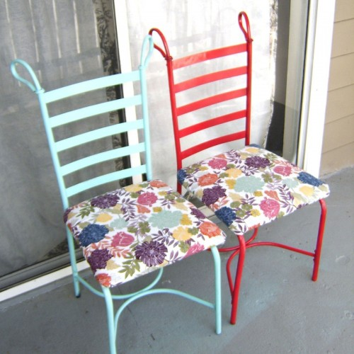colorful floral chair makeover