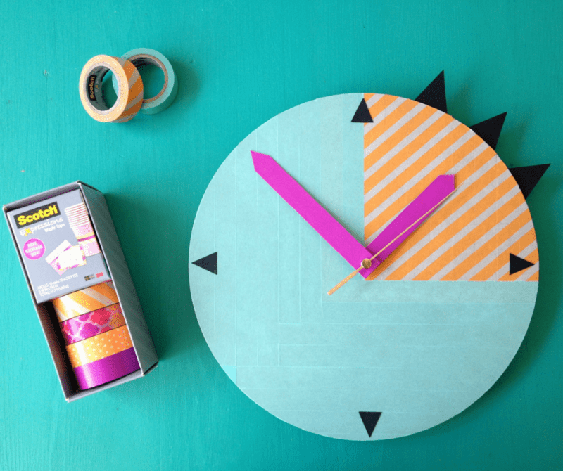 Picture Of easy and fast diy colorful washi tape clock  4