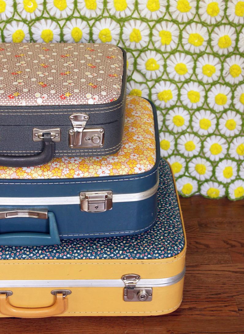 vintage floral suitcases