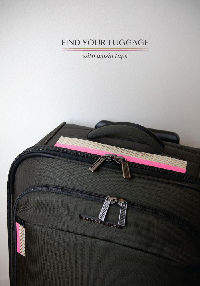 washi tape suitcase decor