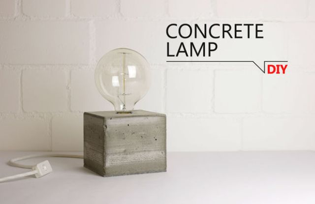 Picture Of easy and minimalist diy concrete base lamp  1