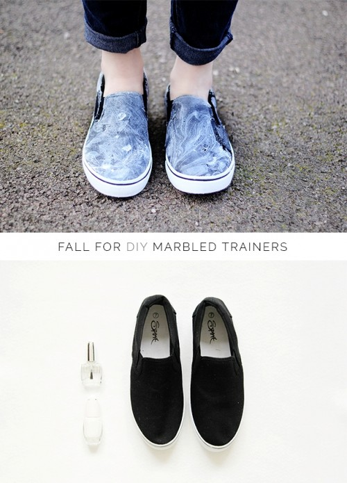 Easy And Quick Diy Marbled Trainers