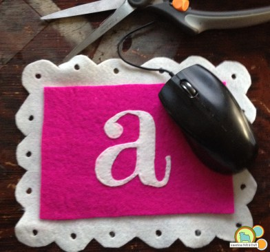 monogrammed wool felt mouse pad (via https:)