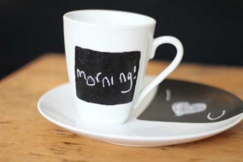 Easy Diy Chalkboard Mug And Plate
