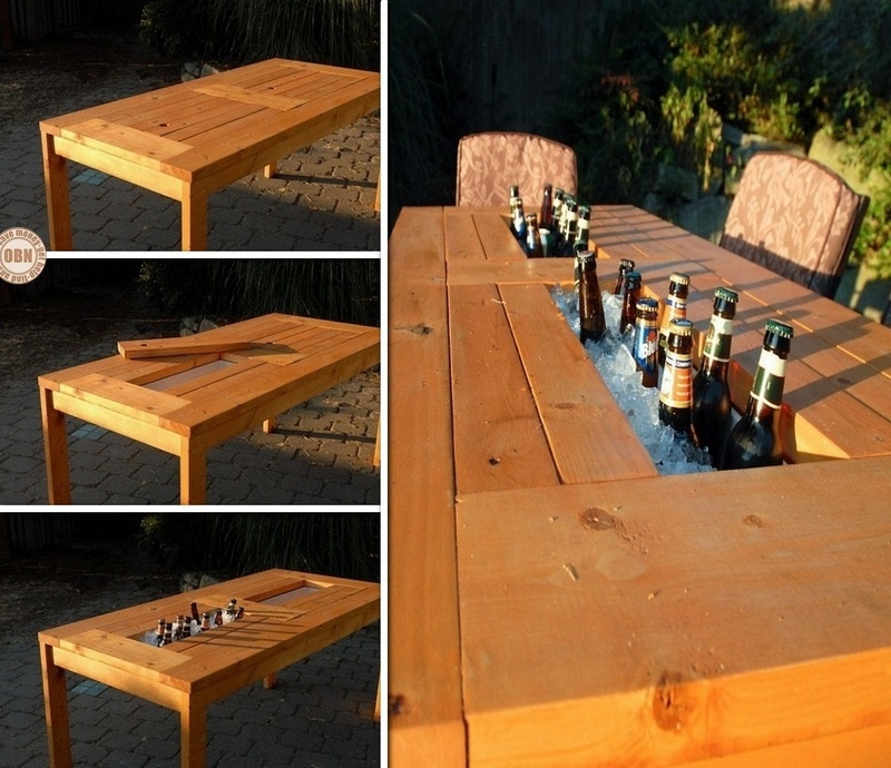 table with a drink cooler in the center