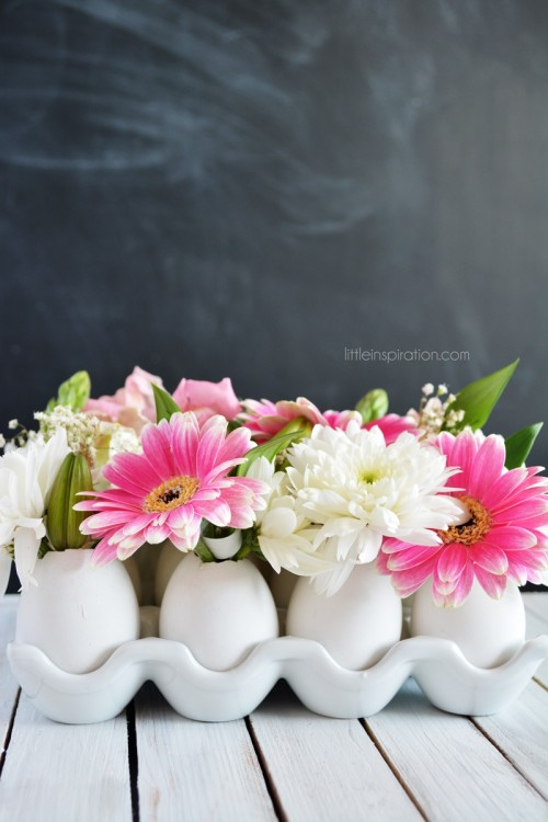 eggshell flower centerpiece