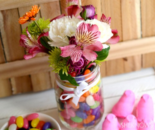 candy and flowers centerpiece