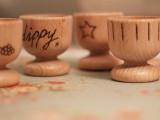 burned wood egg cups
