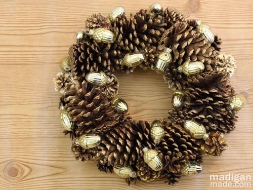 gilded pinecone wreath (via madiganmade)