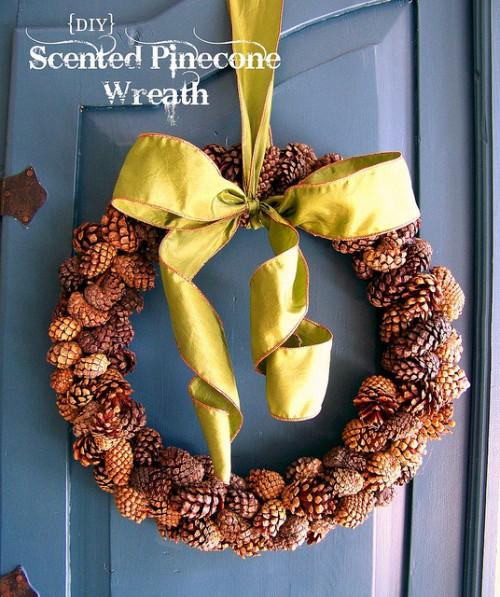 scented pinecone wreath (via hisugarplumsblog)