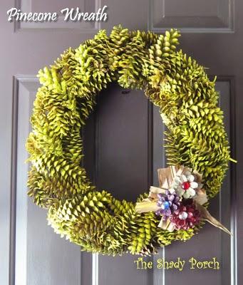 green pinecone wreath (via theshadyporch)