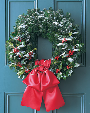 silver fir and holly wreath (via marthastewart)