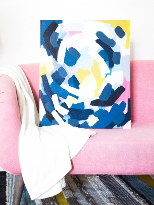 Easy DIY Layered Abstract Wall Art With Acrylics