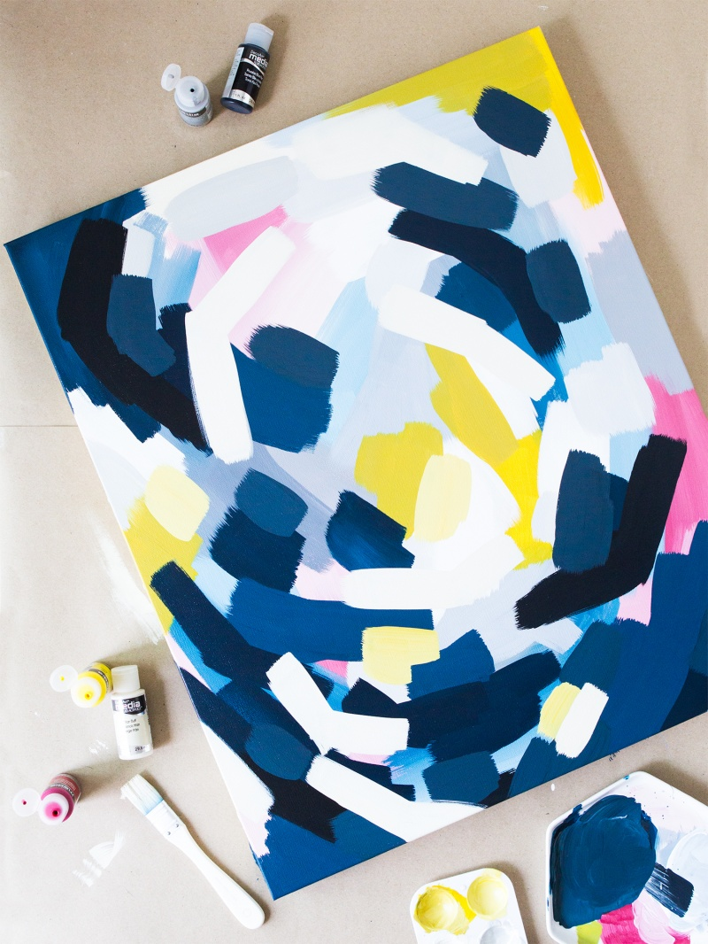 Picture Of easy diy layered abstract wall art with acrylics  2