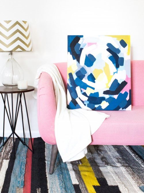 Easy DIY Layered Abstract Wall Art With Acrylics