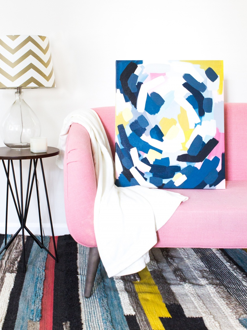 Picture Of easy diy layered abstract wall art with acrylics  3