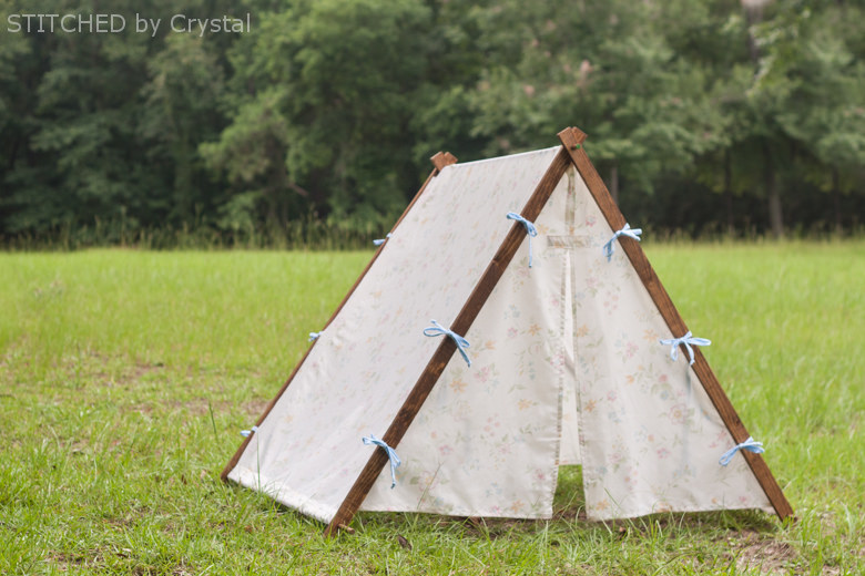 Picture of collapsible fabric tent for kids for Homemade wall tent frame