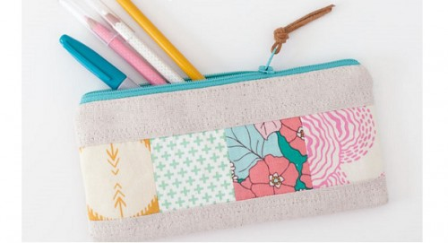 zippered patchwork pouch (via sewing)