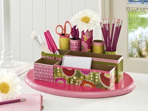 bright recycled desk organizer