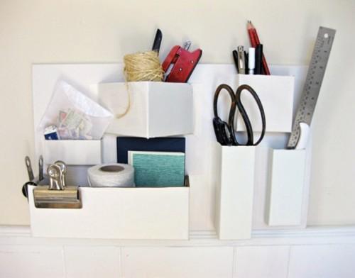 cardboard desk organizer (via shelterness)