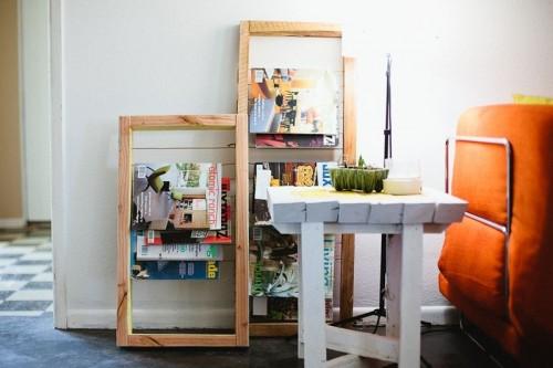 wooden magazine rack (via abeautifulmess)