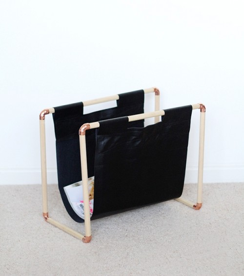 copper and pine magazine rack (via shelterness)