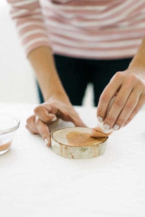 Easy To Make DIY Metallic Birch Coasters