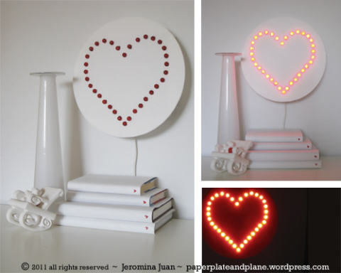 DIY heart wall lamp (via paperplateandplane)