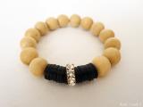 wooden beads and Swarovski bracelet