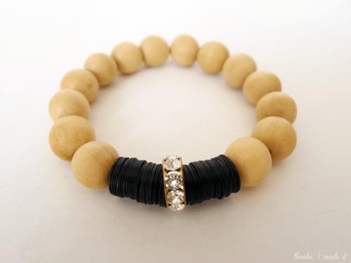 wooden beads and Swarovski bracelet (via thanksimadeitblog)