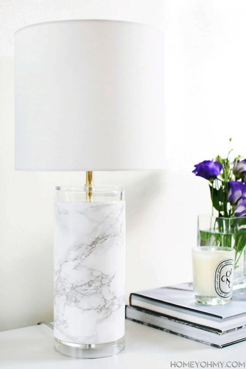 Elegant DIY Faux Marble Table Lamp - Shelterness