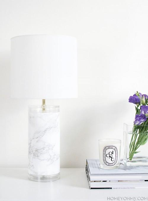 Elegant DIY Faux Marble Table Lamp