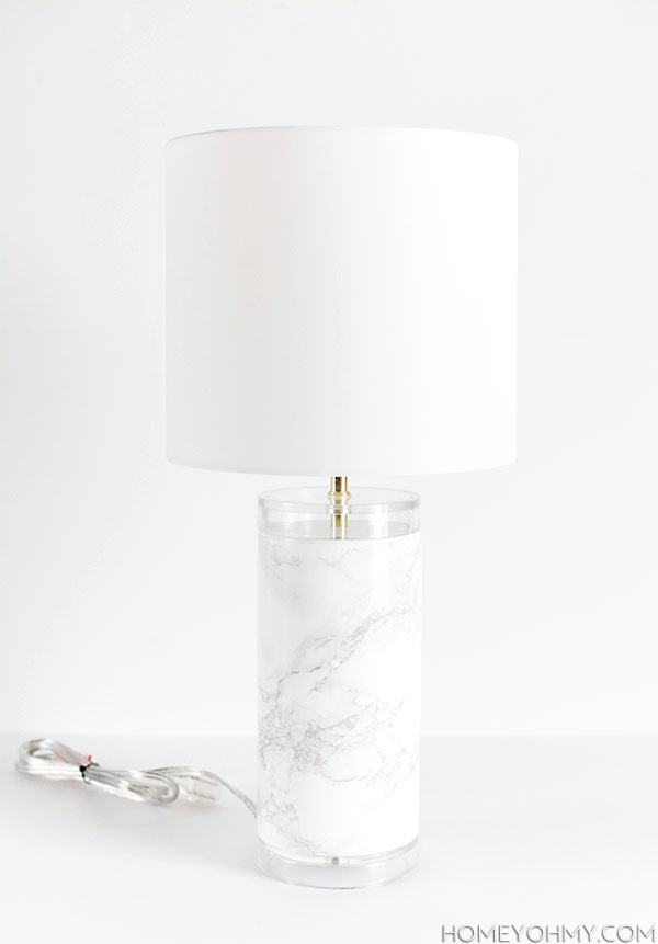Picture Of elegant diy faux marble table lamp  7