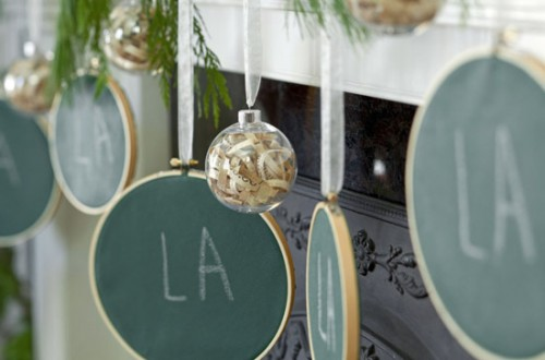 green chalkboard Christmas mantel decorations (via michelle-s)