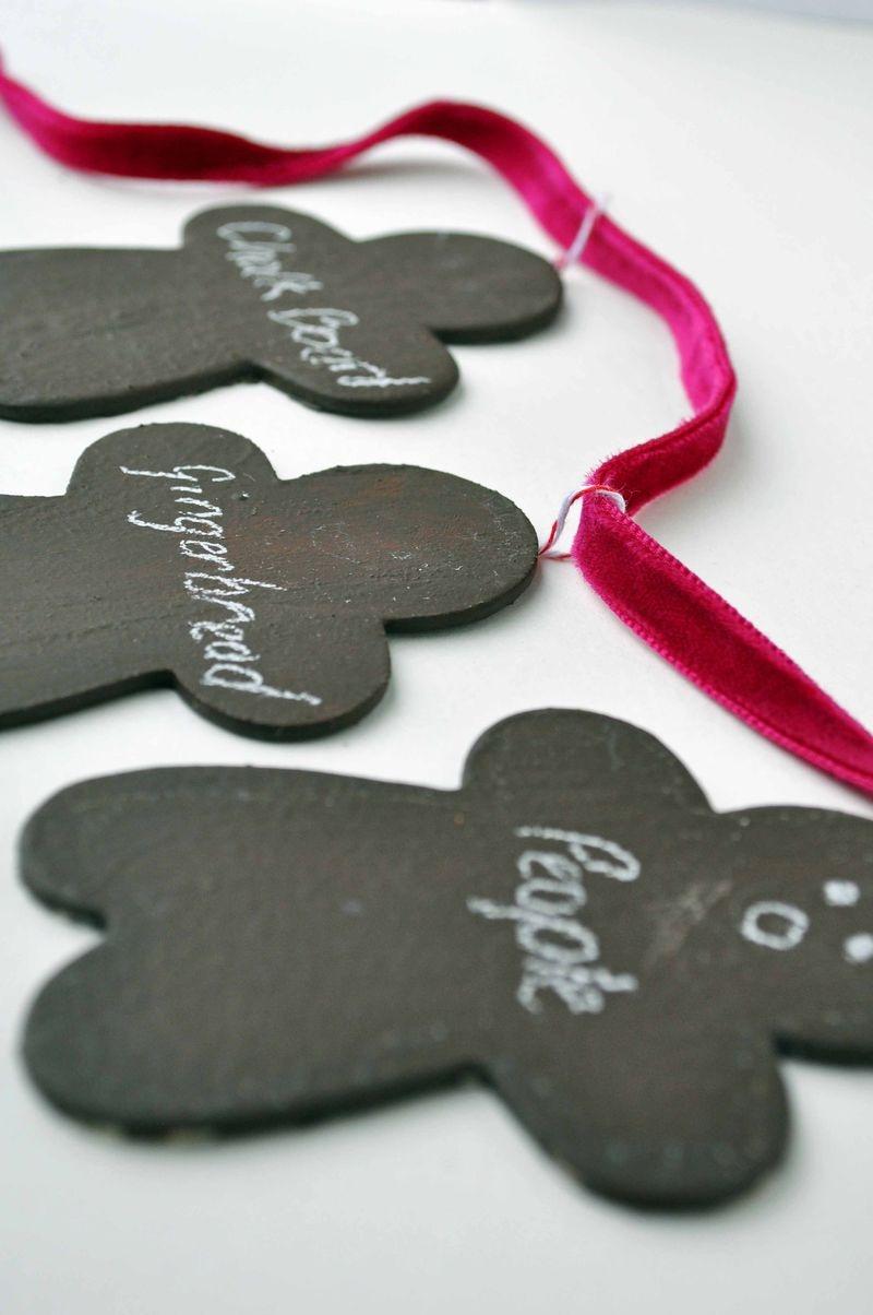 chalkboard gingerbread people garland