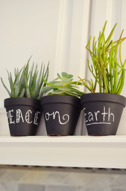chalkboard pots with succulents (via agoldenafternoon)