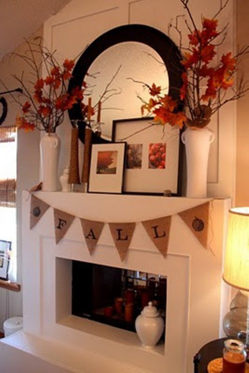 DIY burlap bunting is very easy to make but it'd add a very nice rustic touch to your mantel.